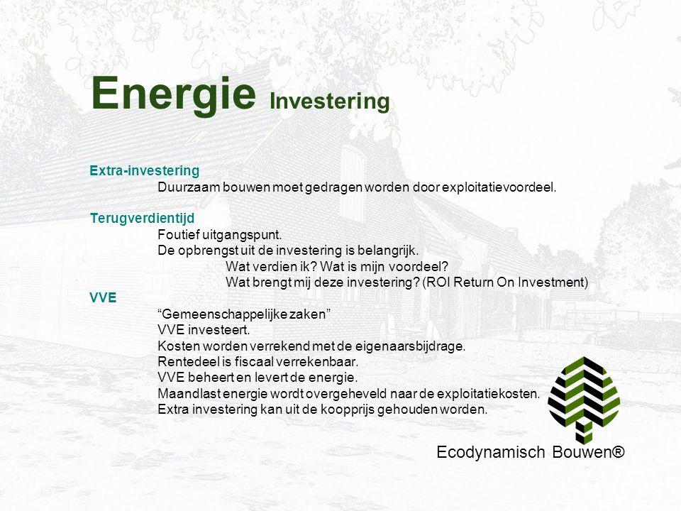 Energie Investering Ecodynamisch Bouwen® Extra-investering Duurzaam bouwen moet gedragen worden door exploitatievoordeel. Terugverdientijd Foutief uit