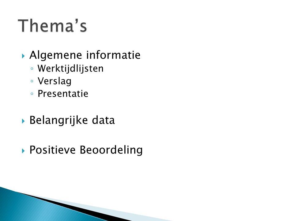  Algemene informatie ◦ Werktijdlijsten ◦ Verslag ◦ Presentatie  Belangrijke data  Positieve Beoordeling