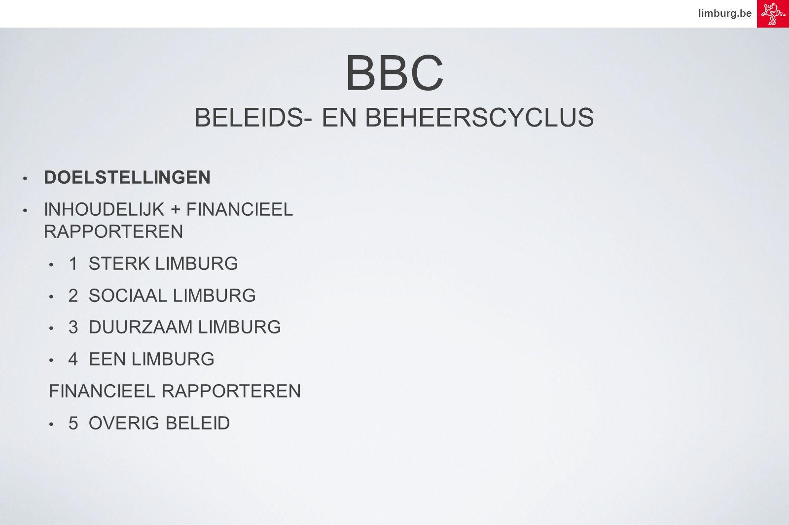 limburg.be • DOELSTELLINGEN • INHOUDELIJK + FINANCIEEL RAPPORTEREN • 1 STERK LIMBURG • 2 SOCIAAL LIMBURG • 3 DUURZAAM LIMBURG • 4 EEN LIMBURG FINANCIEEL RAPPORTEREN • 5 OVERIG BELEID BBC BELEIDS- EN BEHEERSCYCLUS