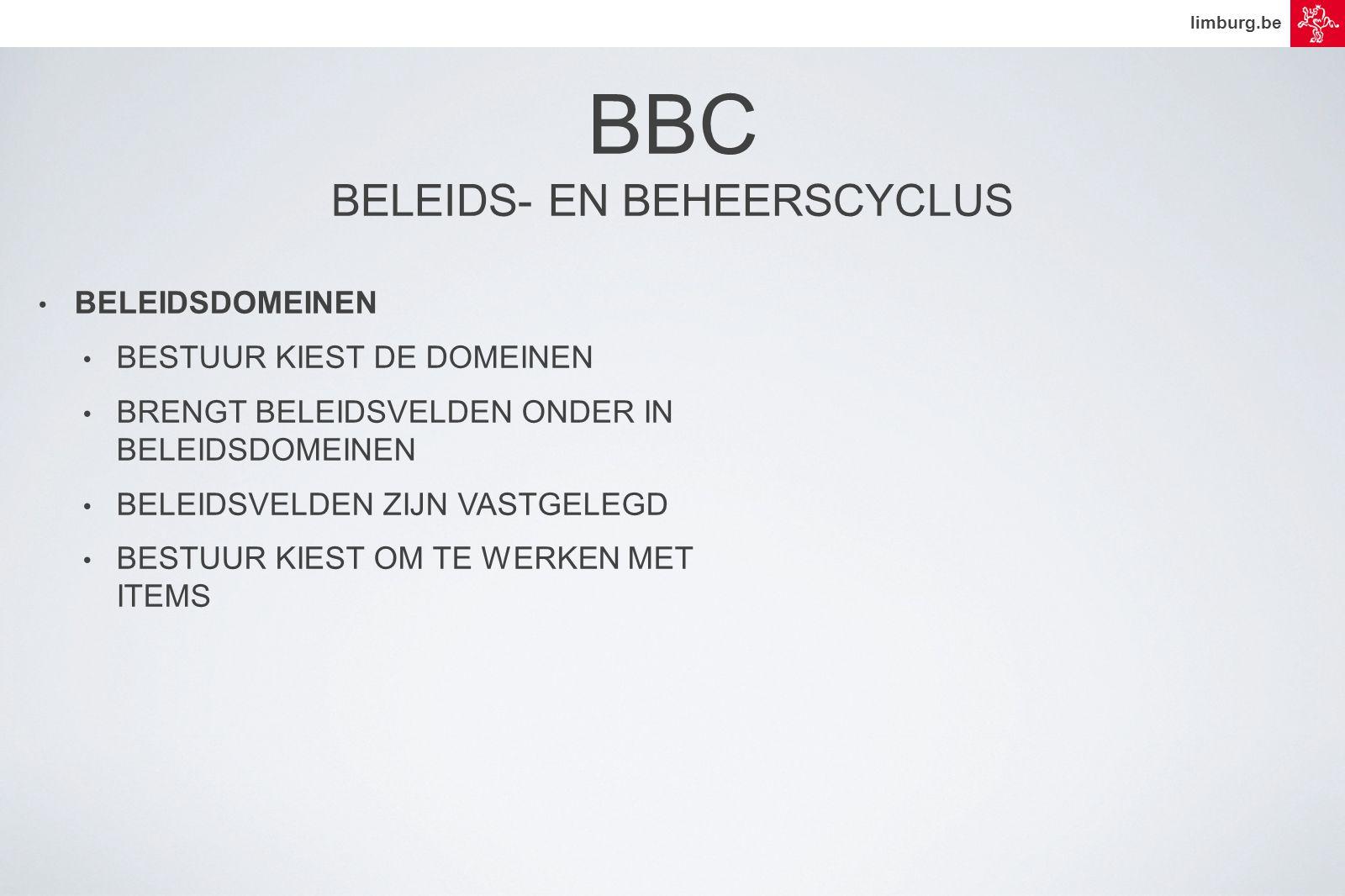 limburg.be • BELEIDSDOMEINEN • BESTUUR KIEST DE DOMEINEN • BRENGT BELEIDSVELDEN ONDER IN BELEIDSDOMEINEN • BELEIDSVELDEN ZIJN VASTGELEGD • BESTUUR KIEST OM TE WERKEN MET ITEMS BBC BELEIDS- EN BEHEERSCYCLUS