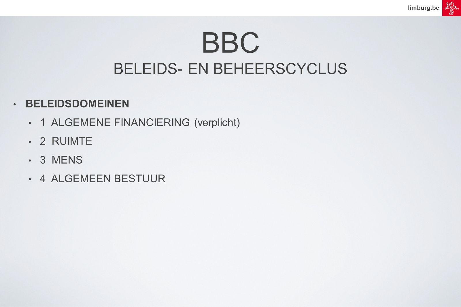 limburg.be • BELEIDSDOMEINEN • 1 ALGEMENE FINANCIERING (verplicht) • 2 RUIMTE • 3 MENS • 4 ALGEMEEN BESTUUR BBC BELEIDS- EN BEHEERSCYCLUS