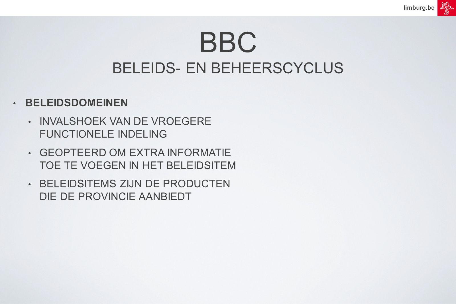 limburg.be • BELEIDSDOMEINEN • INVALSHOEK VAN DE VROEGERE FUNCTIONELE INDELING • GEOPTEERD OM EXTRA INFORMATIE TOE TE VOEGEN IN HET BELEIDSITEM • BELEIDSITEMS ZIJN DE PRODUCTEN DIE DE PROVINCIE AANBIEDT BBC BELEIDS- EN BEHEERSCYCLUS