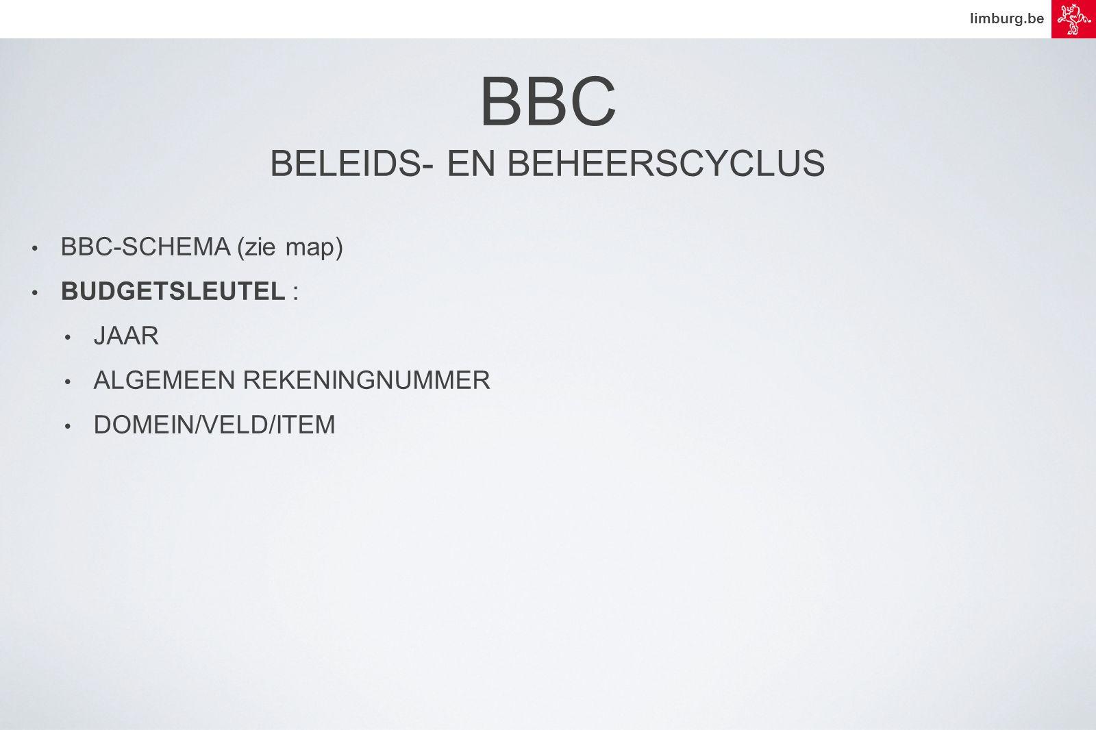 limburg.be • BBC-SCHEMA (zie map) • BUDGETSLEUTEL : • JAAR • ALGEMEEN REKENINGNUMMER • DOMEIN/VELD/ITEM BBC BELEIDS- EN BEHEERSCYCLUS