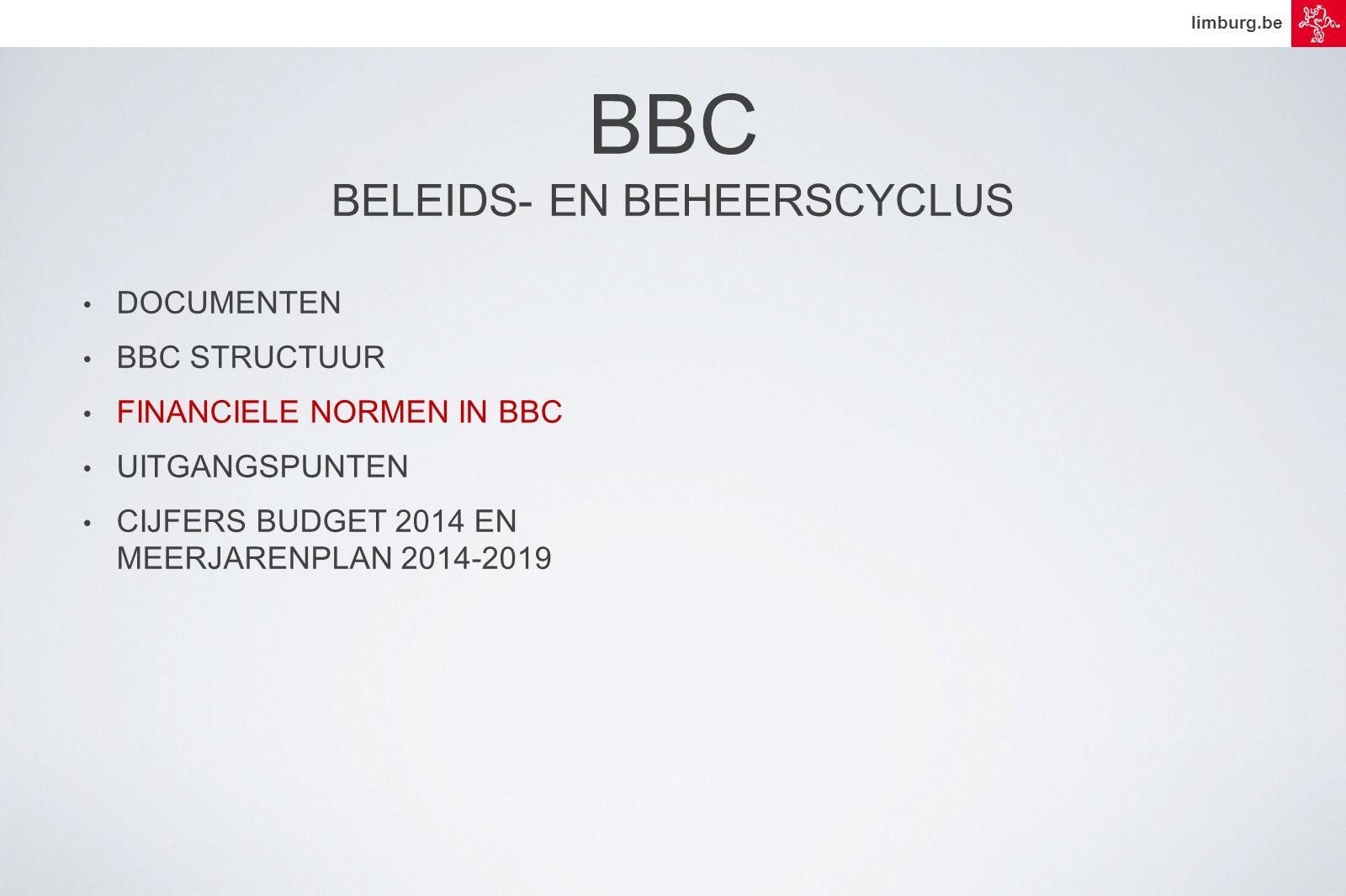 limburg.be • DOCUMENTEN • BBC STRUCTUUR • FINANCIELE NORMEN IN BBC • UITGANGSPUNTEN • CIJFERS BUDGET 2014 EN MEERJARENPLAN 2014-2019 BBC BELEIDS- EN BEHEERSCYCLUS