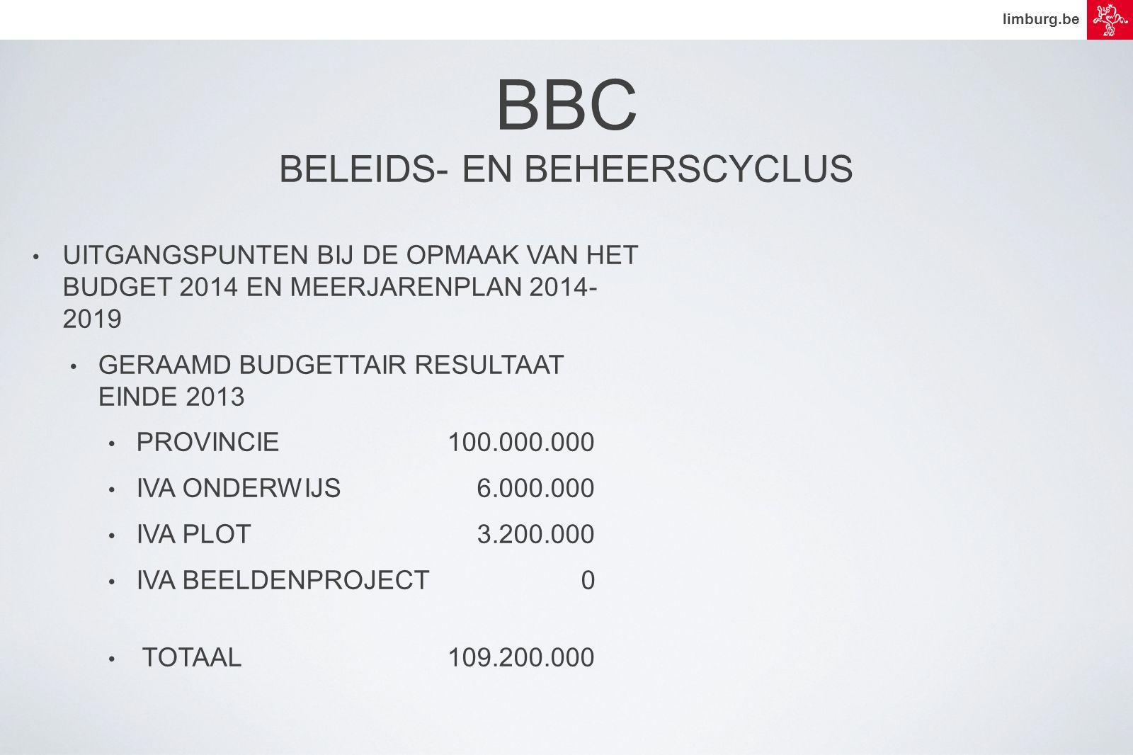 limburg.be • UITGANGSPUNTEN BIJ DE OPMAAK VAN HET BUDGET 2014 EN MEERJARENPLAN 2014- 2019 • GERAAMD BUDGETTAIR RESULTAAT EINDE 2013 • PROVINCIE 100.000.000 • IVA ONDERWIJS 6.000.000 • IVA PLOT 3.200.000 • IVA BEELDENPROJECT 0 • TOTAAL 109.200.000 BBC BELEIDS- EN BEHEERSCYCLUS