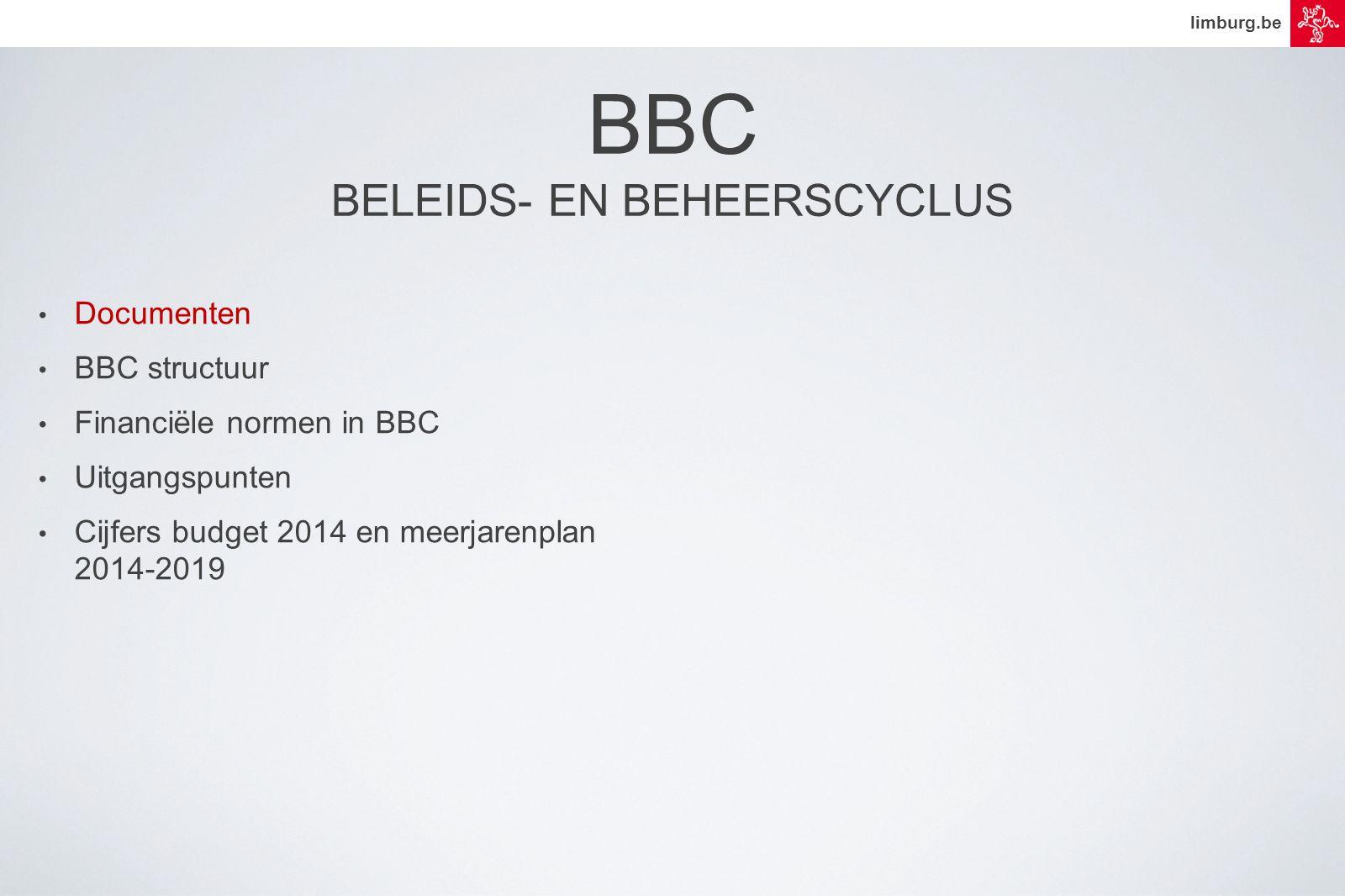 limburg.be • Documenten • BBC structuur • Financiële normen in BBC • Uitgangspunten • Cijfers budget 2014 en meerjarenplan 2014-2019 BBC BELEIDS- EN BEHEERSCYCLUS