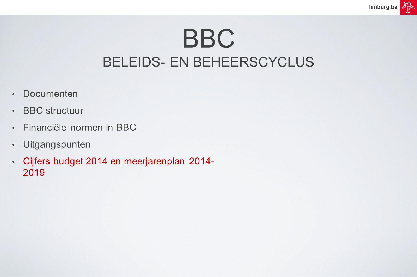 limburg.be • Documenten • BBC structuur • Financiële normen in BBC • Uitgangspunten • Cijfers budget 2014 en meerjarenplan 2014- 2019 BBC BELEIDS- EN BEHEERSCYCLUS