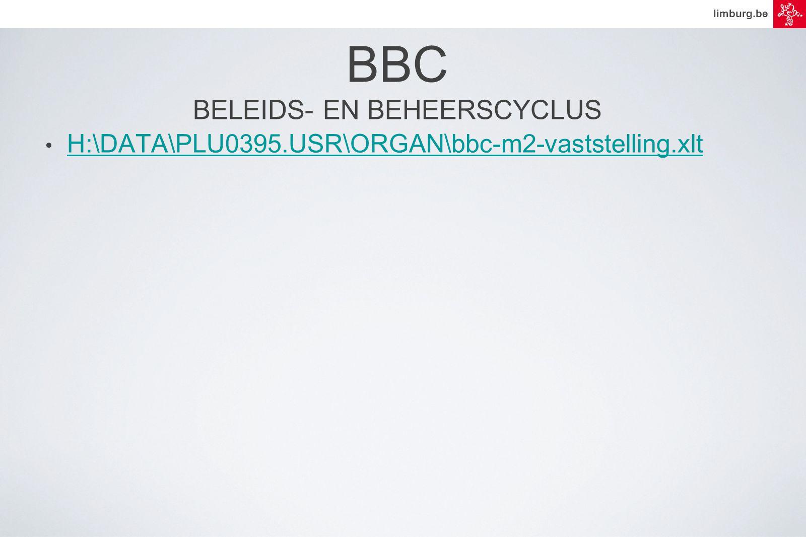 limburg.be BBC BELEIDS- EN BEHEERSCYCLUS • H:\DATA\PLU0395.USR\ORGAN\bbc-m2-vaststelling.xlt H:\DATA\PLU0395.USR\ORGAN\bbc-m2-vaststelling.xlt