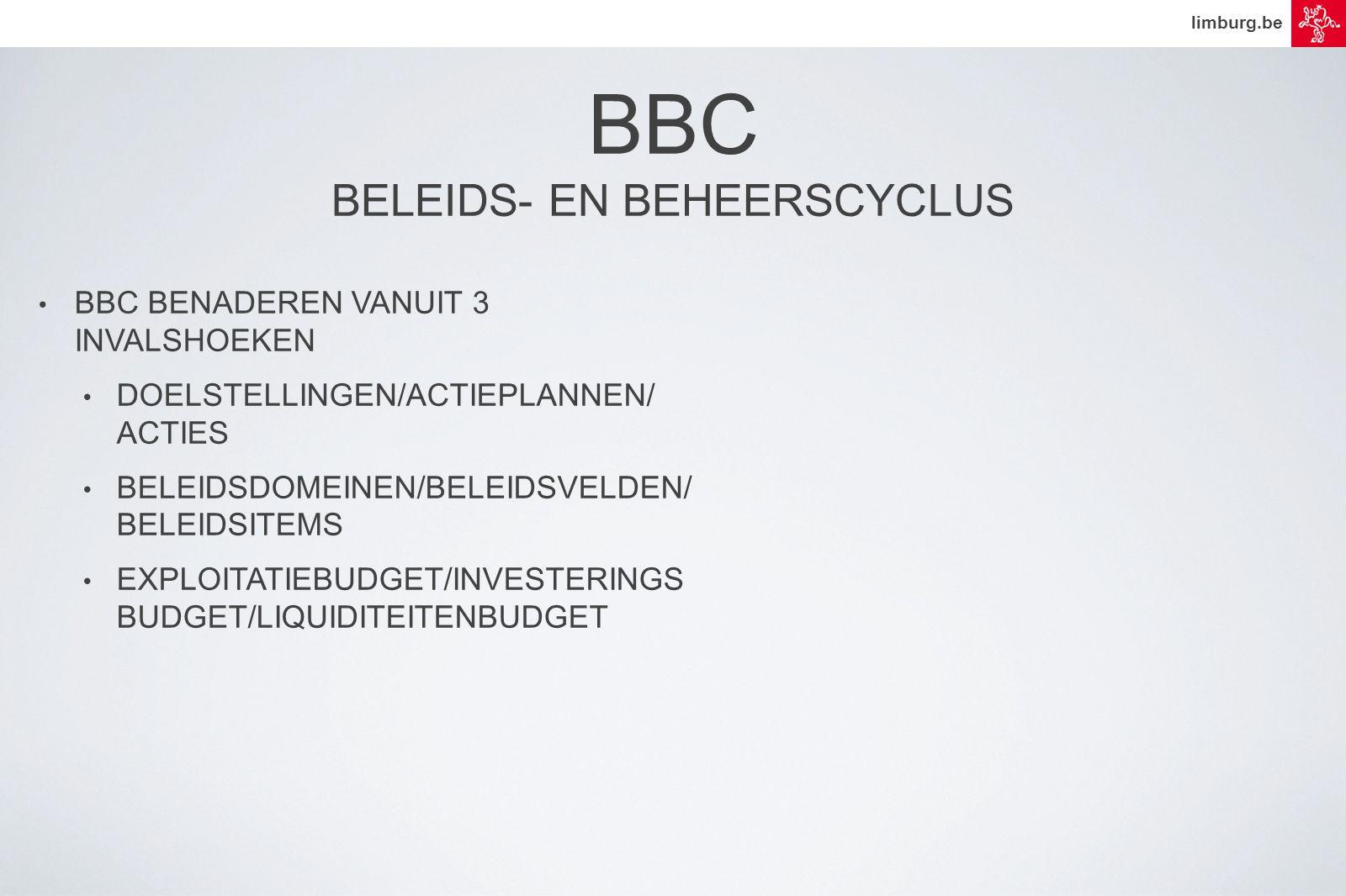 limburg.be • BBC BENADEREN VANUIT 3 INVALSHOEKEN • DOELSTELLINGEN/ACTIEPLANNEN/ ACTIES • BELEIDSDOMEINEN/BELEIDSVELDEN/ BELEIDSITEMS • EXPLOITATIEBUDGET/INVESTERINGS BUDGET/LIQUIDITEITENBUDGET BBC BELEIDS- EN BEHEERSCYCLUS