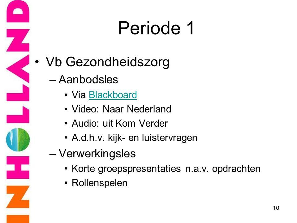 Periode 1 •Vb Gezondheidszorg –Aanbodsles •Via BlackboardBlackboard •Video: Naar Nederland •Audio: uit Kom Verder •A.d.h.v. kijk- en luistervragen –Ve