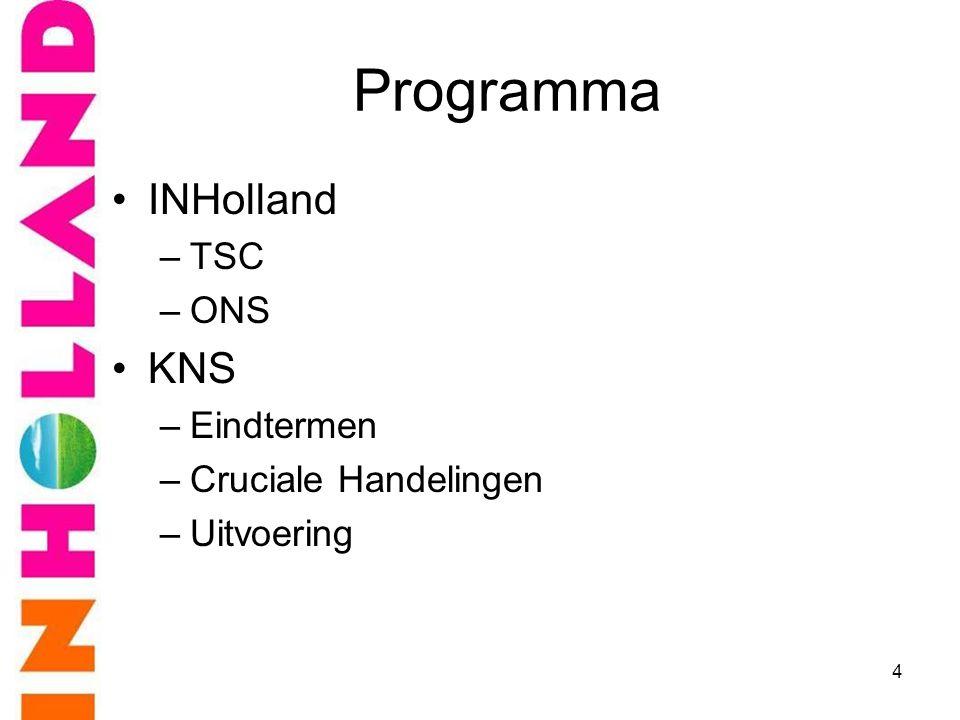 Programma •INHolland –TSC –ONS •KNS –Eindtermen –Cruciale Handelingen –Uitvoering 4