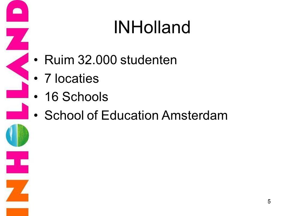 INHolland •Ruim 32.000 studenten •7 locaties •16 Schools •School of Education Amsterdam 5