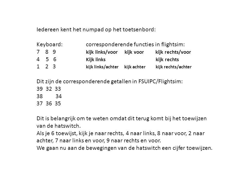 Iedereen kent het numpad op het toetsenbord: Keyboard: corresponderende functies in flightsim: 7 8 9 kijk links/voor kijk voor kijk rechts/voor 45 6 K
