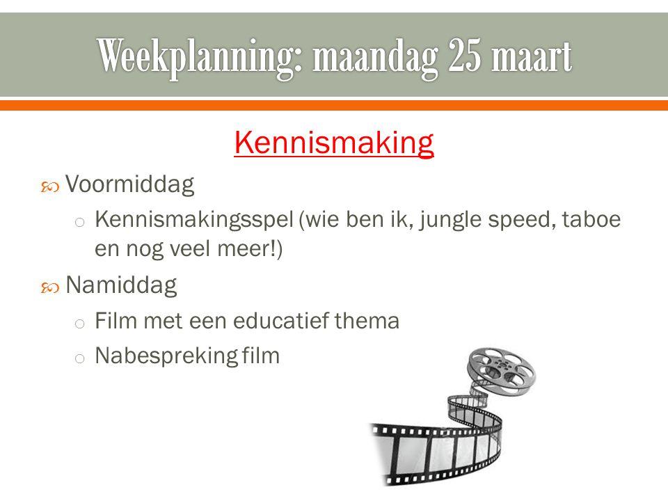 Kennismaking  Voormiddag o Kennismakingsspel (wie ben ik, jungle speed, taboe en nog veel meer!)  Namiddag o Film met een educatief thema o Nabespre