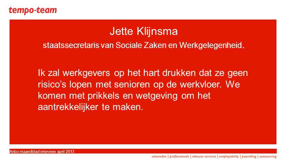 Jette Klijnsma staatssecretaris van Sociale Zaken en Werkgelegenheid.