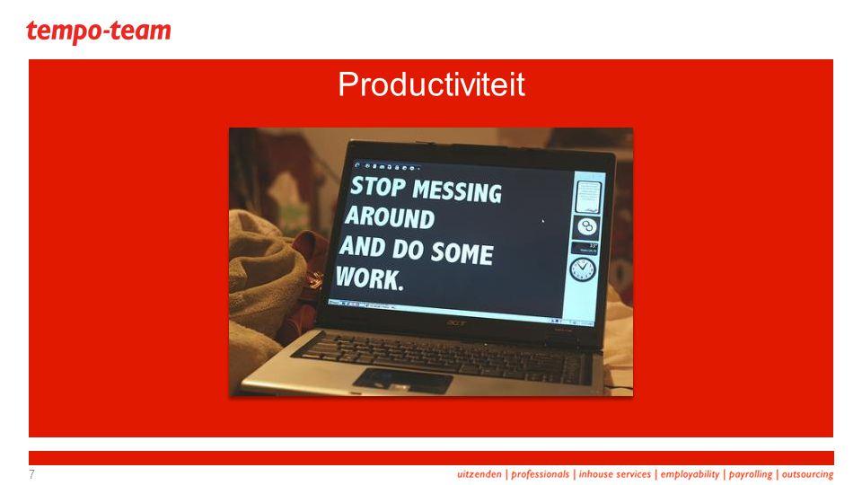 TNO Beelden en feiten over omslagpunten en maatregelen omtrent de productiviteit van oudere werknemers, dec 2011 Productiviteit Wetenschappelijk Onderzoeken: Geen verband leeftijd en productiviteit.