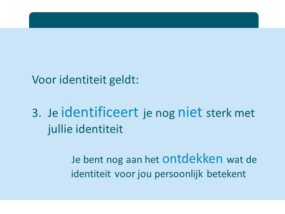 Voor identiteit geldt: 3.Je identificeert je nog niet sterk met jullie identiteit Je bent nog aan het ontdekken wat de identiteit voor jou persoonlijk