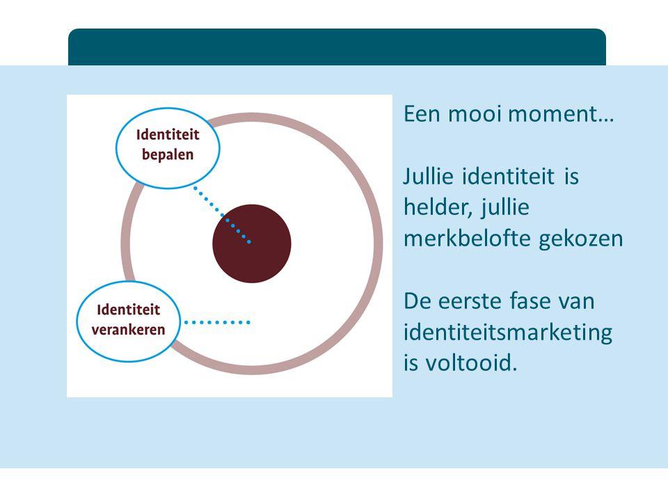 Een mooi moment… Jullie identiteit is helder, jullie merkbelofte gekozen De eerste fase van identiteitsmarketing is voltooid.