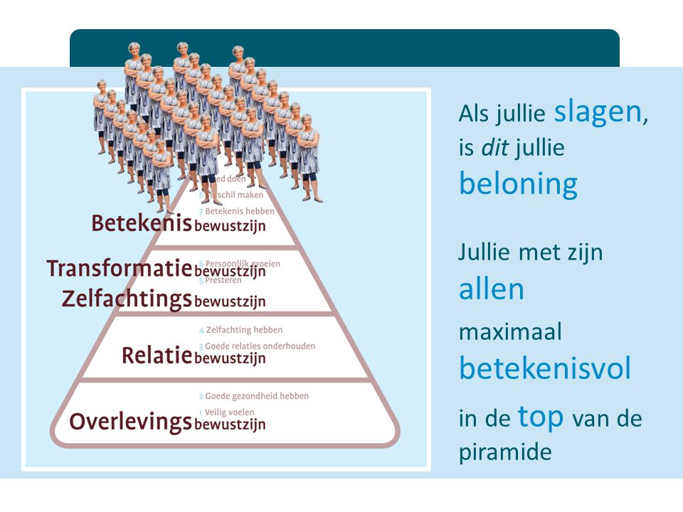 Als jullie slagen, is dit jullie beloning Jullie met zijn allen maximaal betekenisvol in de top van de piramide
