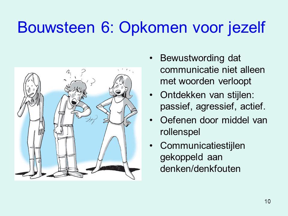 10 Bouwsteen 6: Opkomen voor jezelf •Bewustwording dat communicatie niet alleen met woorden verloopt •Ontdekken van stijlen: passief, agressief, actie