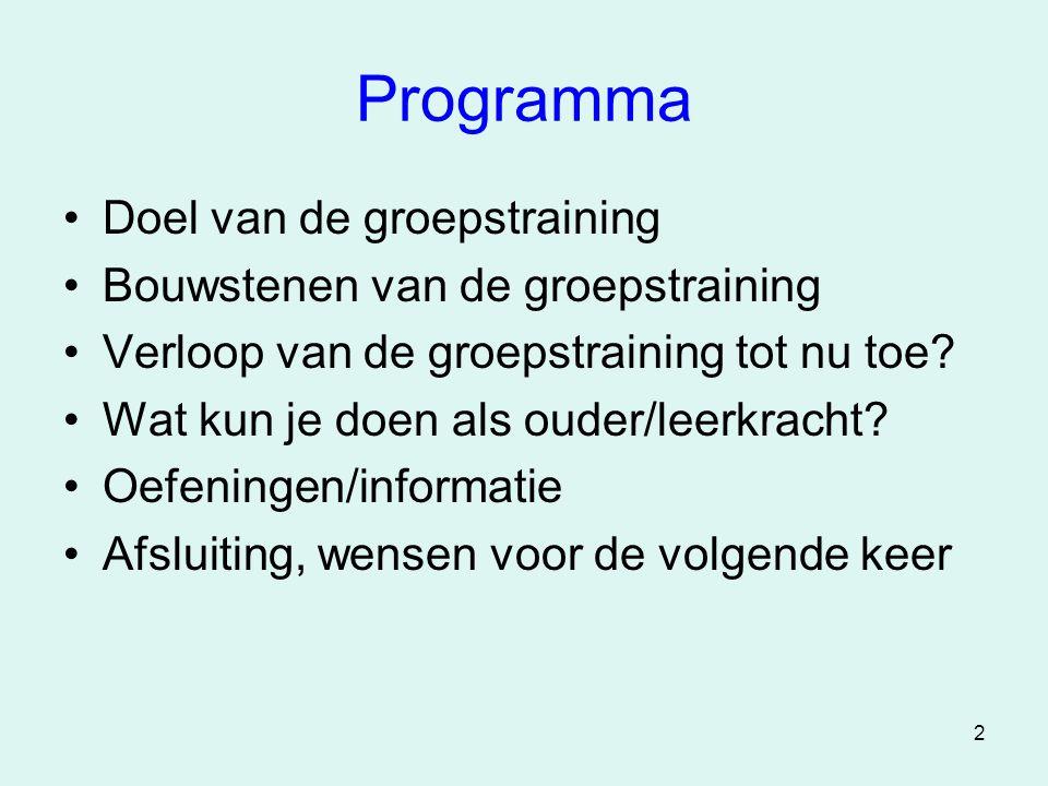 2 Programma •Doel van de groepstraining •Bouwstenen van de groepstraining •Verloop van de groepstraining tot nu toe? •Wat kun je doen als ouder/leerkr