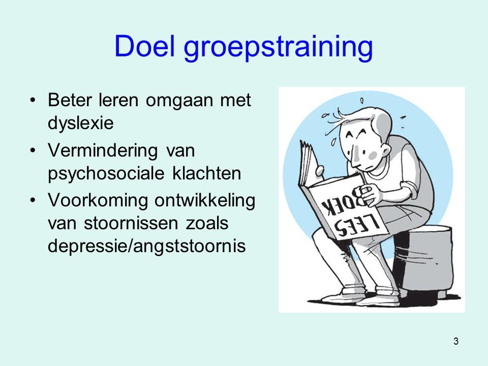 3 Doel groepstraining •Beter leren omgaan met dyslexie •Vermindering van psychosociale klachten •Voorkoming ontwikkeling van stoornissen zoals depress