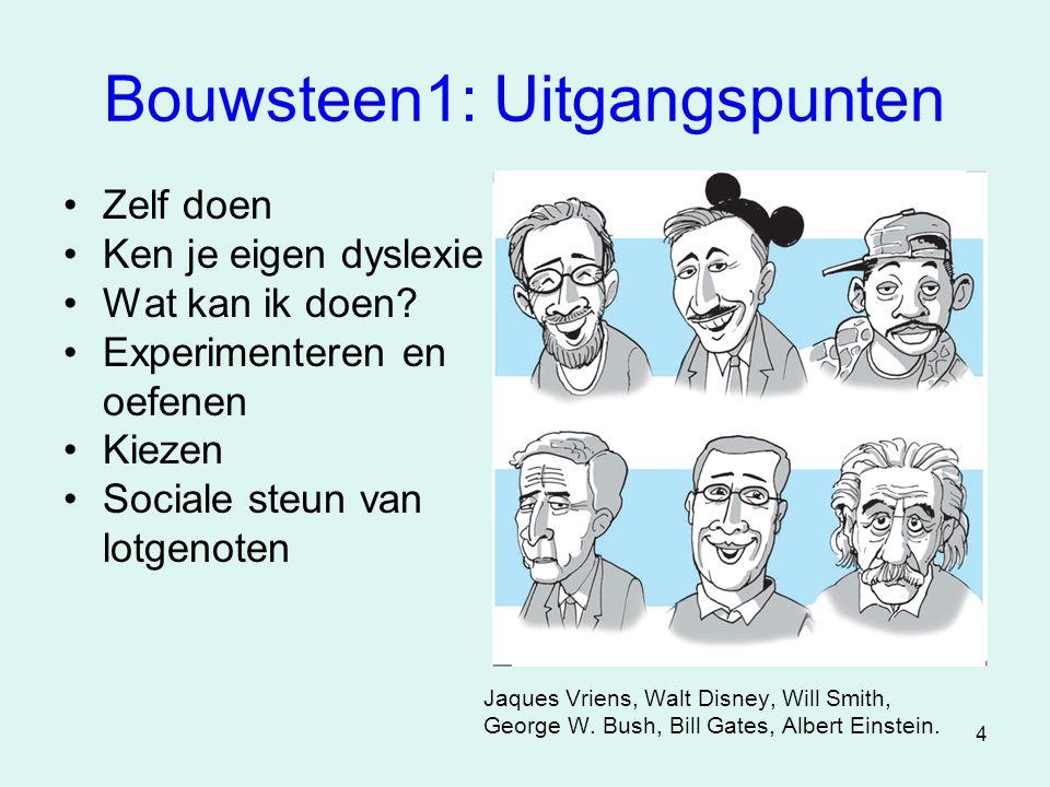 4 Bouwsteen1: Uitgangspunten •Zelf doen •Ken je eigen dyslexie •Wat kan ik doen? •Experimenteren en oefenen •Kiezen •Sociale steun van lotgenoten Jaqu