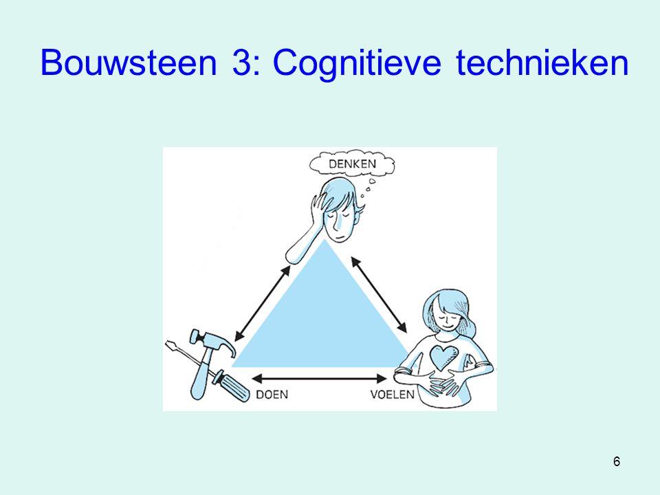 7 Cognitieve technieken •Samenspel denken, voelen, doen •Onderkennen eigen positieve en negatieve gedachten •Denkfouten leren onderkennen (bv.