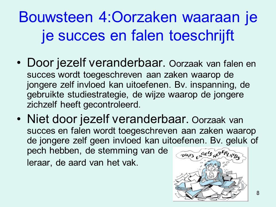 8 Bouwsteen 4:Oorzaken waaraan je je succes en falen toeschrijft •Door jezelf veranderbaar. Oorzaak van falen en succes wordt toegeschreven aan zaken