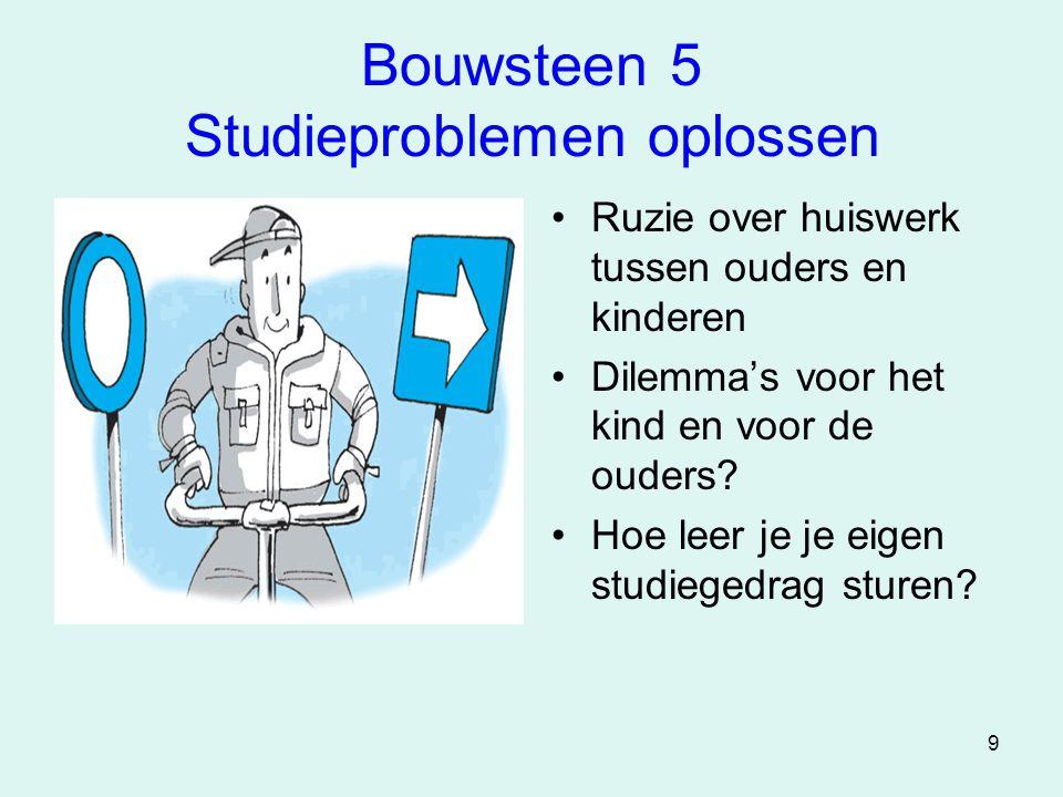 9 Bouwsteen 5 Studieproblemen oplossen •Ruzie over huiswerk tussen ouders en kinderen •Dilemma's voor het kind en voor de ouders? •Hoe leer je je eige