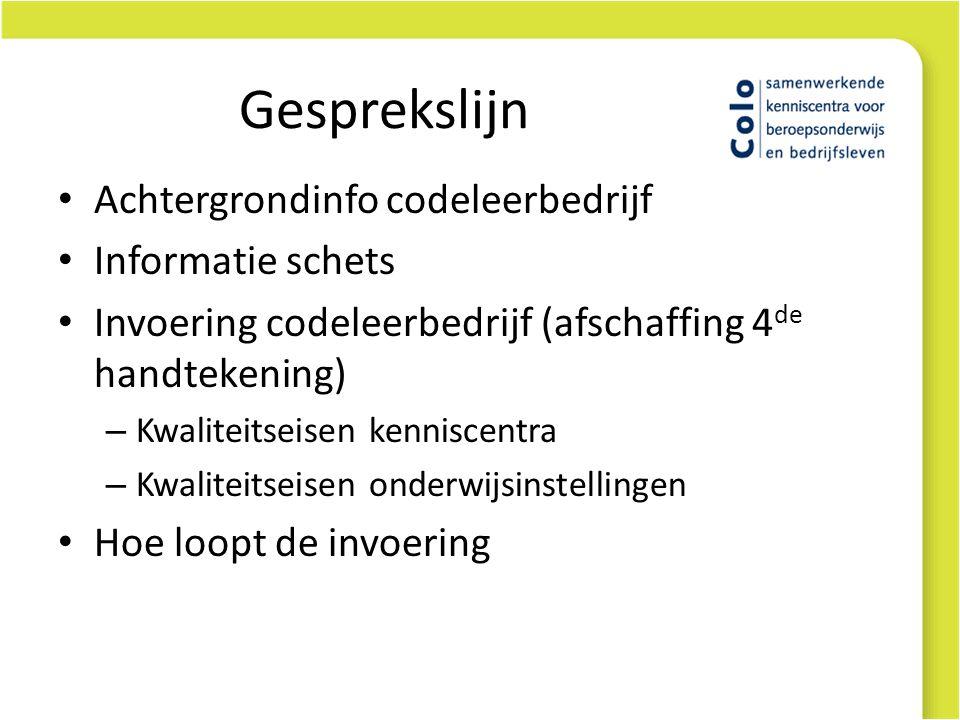 Gesprekslijn • Achtergrondinfo codeleerbedrijf • Informatie schets • Invoering codeleerbedrijf (afschaffing 4 de handtekening) – Kwaliteitseisen kenniscentra – Kwaliteitseisen onderwijsinstellingen • Hoe loopt de invoering