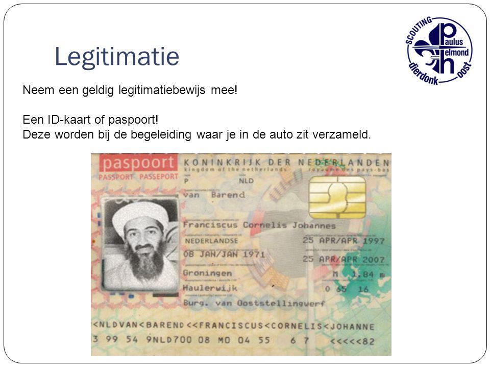 Legitimatie Neem een geldig legitimatiebewijs mee! Een ID-kaart of paspoort! Deze worden bij de begeleiding waar je in de auto zit verzameld.