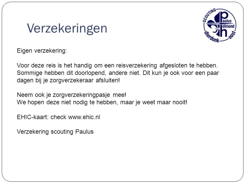 Verzekeringen Eigen verzekering: Voor deze reis is het handig om een reisverzekering afgesloten te hebben.