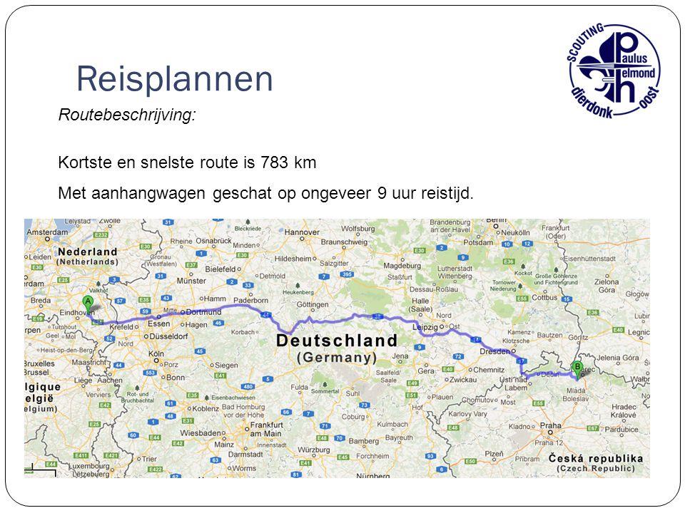 Reisplannen Routebeschrijving: Kortste en snelste route is 783 km Met aanhangwagen geschat op ongeveer 9 uur reistijd.