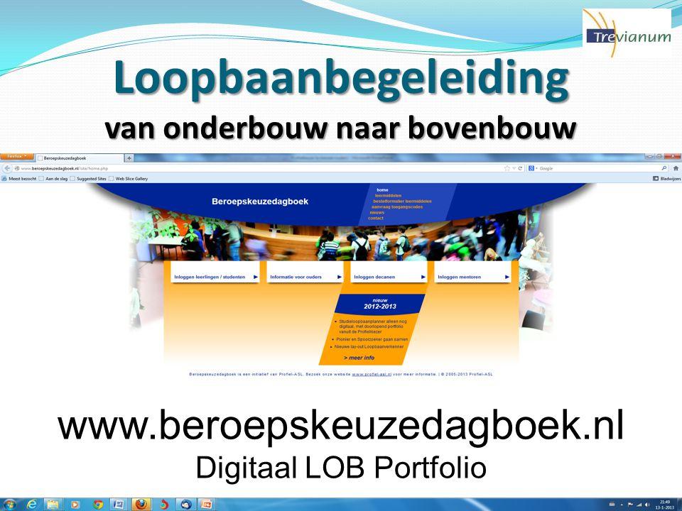 Loopbaanbegeleiding van onderbouw naar bovenbouw www.beroepskeuzedagboek.nl Digitaal LOB Portfolio