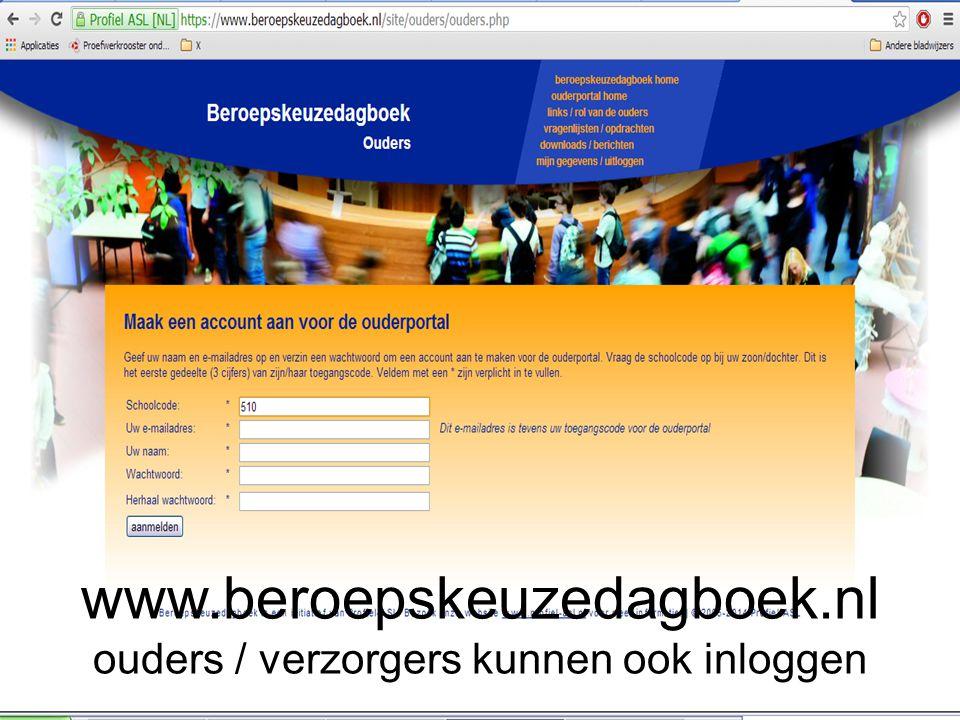 www.beroepskeuzedagboek.nl ouders / verzorgers kunnen ook inloggen