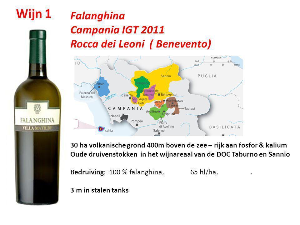Falanghina Campania IGT 2011 Rocca dei Leoni ( Benevento) 30 ha volkanische grond 400m boven de zee – rijk aan fosfor & kalium Oude druivenstokken in