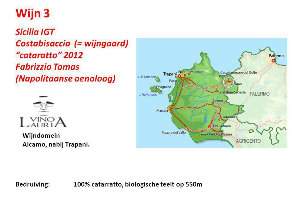 """Sicilia IGT Costabisaccia (= wijngaard) """"cataratto"""" 2012 Fabrizzio Tomas (Napolitaanse oenoloog) Bedruiving: 100% catarratto, biologische teelt op 550"""
