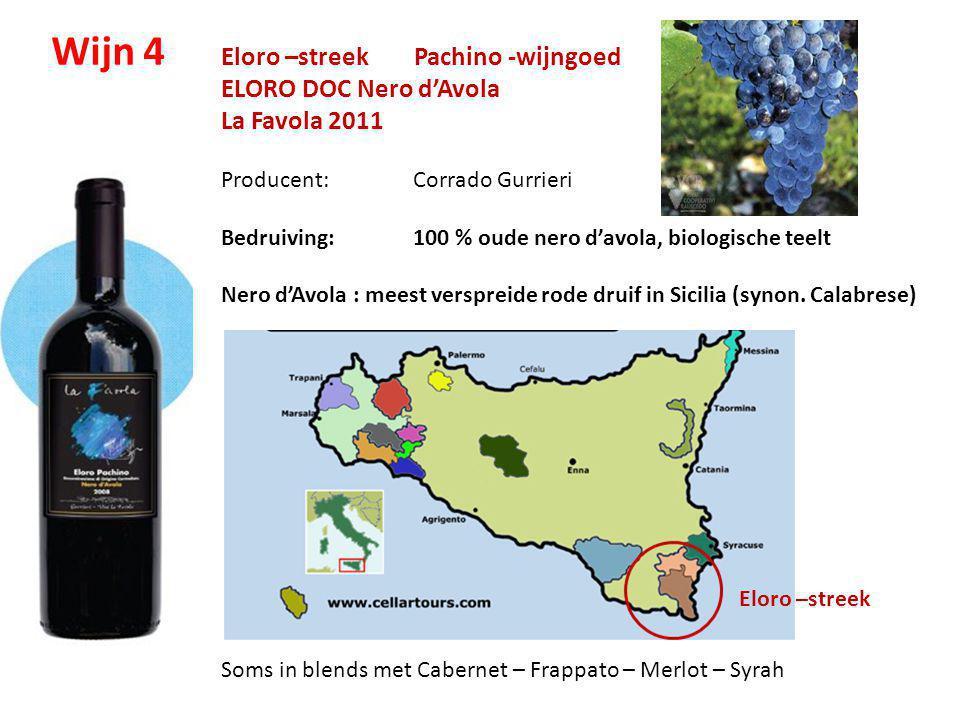 Eloro –streek Pachino -wijngoed ELORO DOC Nero d'Avola La Favola 2011 Producent: Corrado Gurrieri Bedruiving: 100 % oude nero d'avola, biologische tee