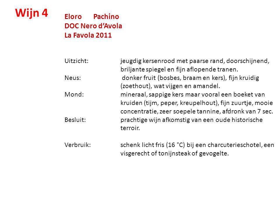 Eloro Pachino DOC Nero d'Avola La Favola 2011 Uitzicht: jeugdig kersenrood met paarse rand, doorschijnend, briljante spiegel en fijn aflopende tranen.