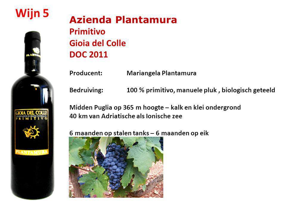 Azienda Plantamura Primitivo Gioia del Colle DOC 2011 Producent: Mariangela Plantamura Bedruiving: 100 % primitivo, manuele pluk, biologisch geteeld M