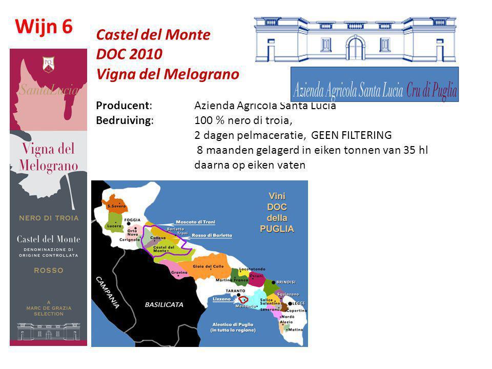 Castel del Monte DOC 2010 Vigna del Melograno Producent: Azienda Agricola Santa Lucia Bedruiving: 100 % nero di troia, 2 dagen pelmaceratie, GEEN FILT