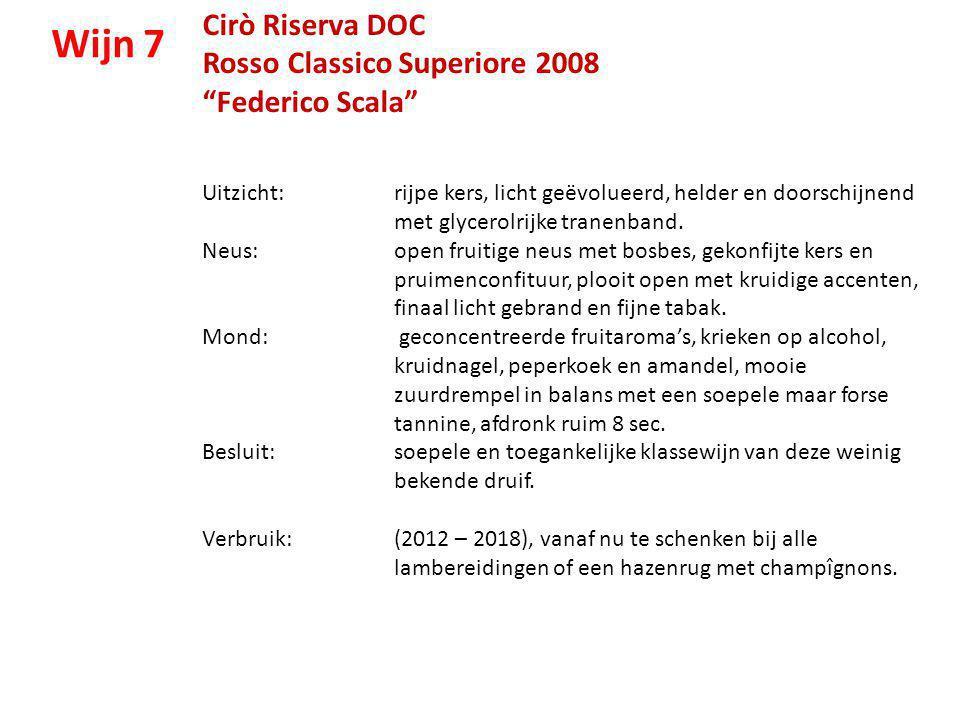 """Cirò Riserva DOC Rosso Classico Superiore 2008 """"Federico Scala"""" Uitzicht: rijpe kers, licht geëvolueerd, helder en doorschijnend met glycerolrijke tra"""