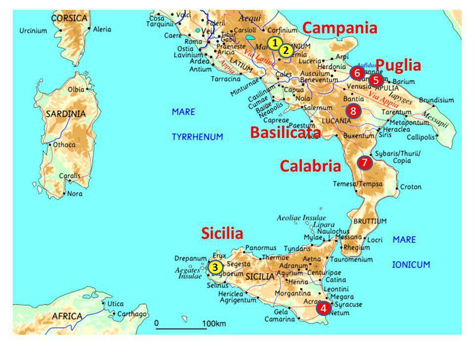 1 2 5 8 7 6 4 3 Campania Sicilia Puglia Calabria Basilicata