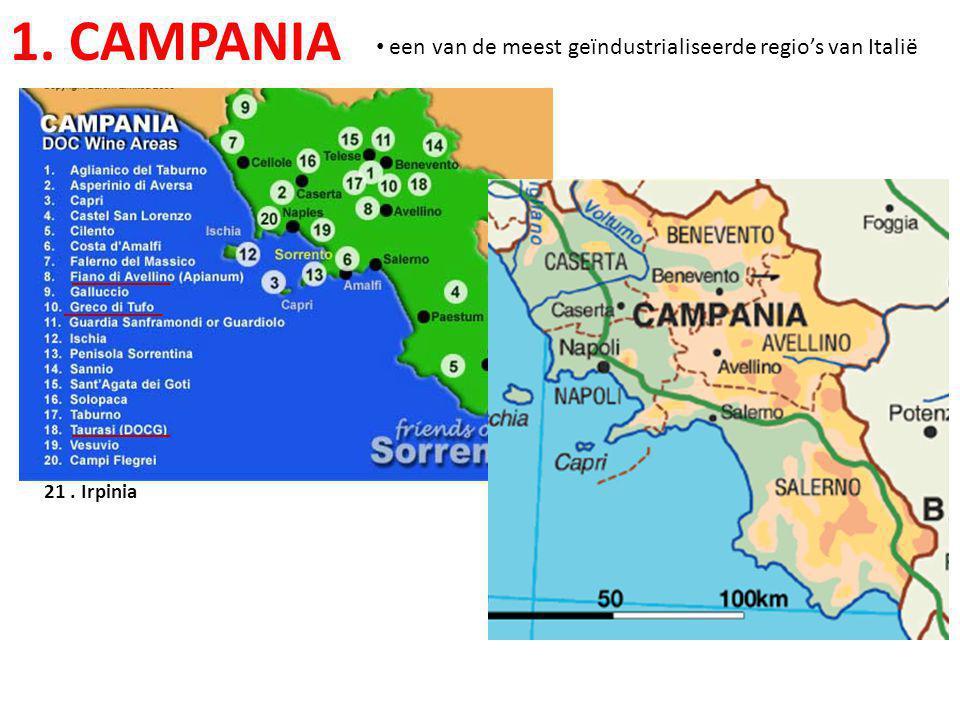 1. CAMPANIA • een van de meest geïndustrialiseerde regio's van Italië 21. Irpinia