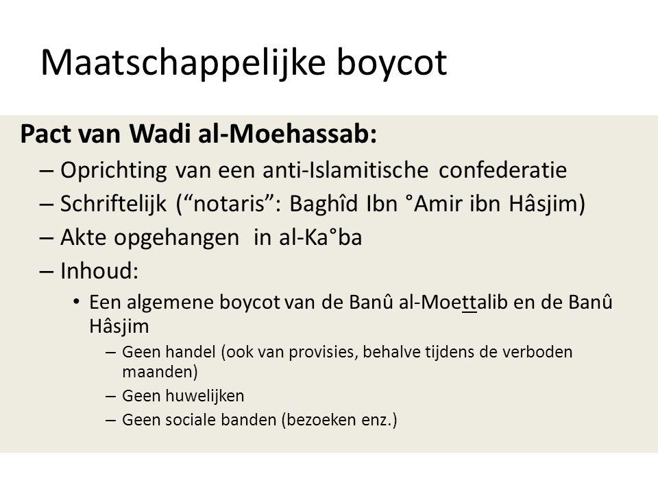 """Maatschappelijke boycot Pact van Wadi al-Moehassab: – Oprichting van een anti-Islamitische confederatie – Schriftelijk (""""notaris"""": Baghîd Ibn °Amir ib"""