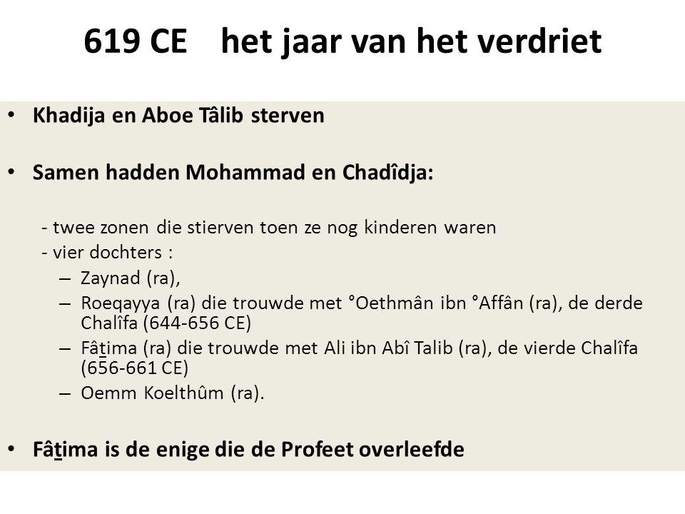 619 CE het jaar van het verdriet • Khadija en Aboe Tâlib sterven • Samen hadden Mohammad en Chadîdja: - twee zonen die stierven toen ze nog kinderen w