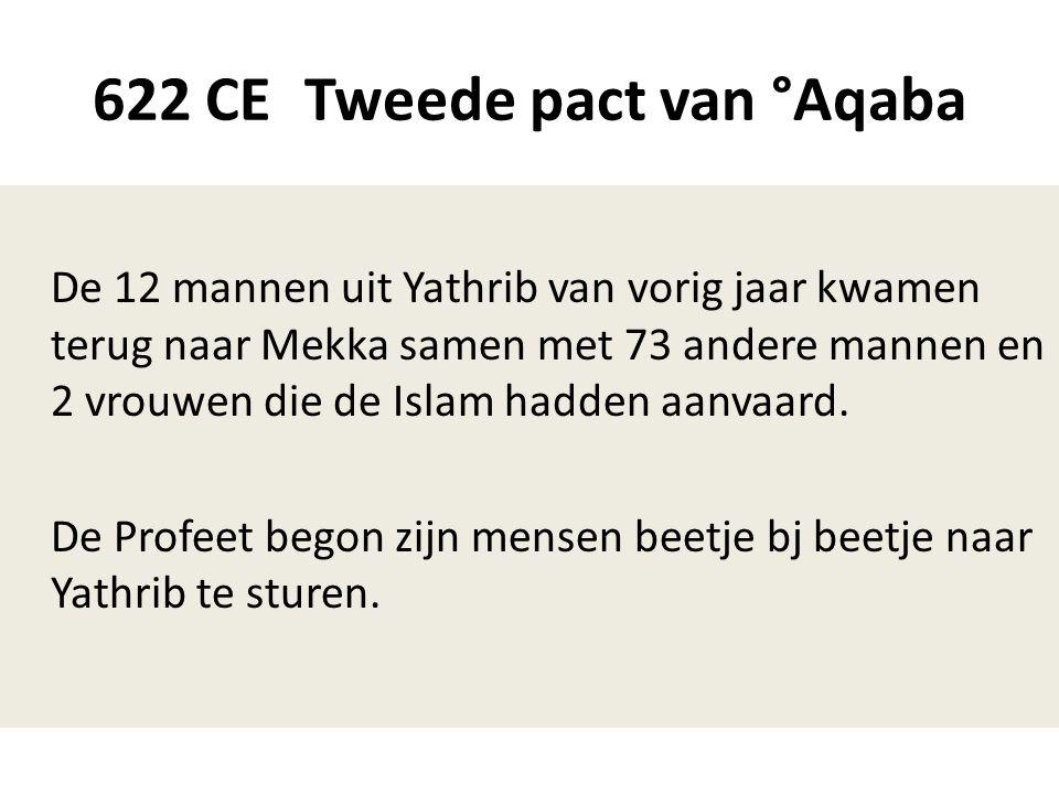 622 CE Tweede pact van °Aqaba De 12 mannen uit Yathrib van vorig jaar kwamen terug naar Mekka samen met 73 andere mannen en 2 vrouwen die de Islam had