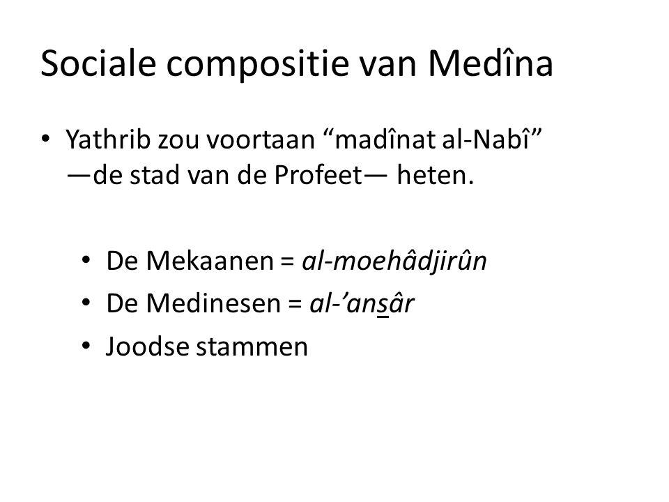 """Sociale compositie van Medîna • Yathrib zou voortaan """"madînat al-Nabî"""" —de stad van de Profeet— heten. • De Mekaanen = al-moehâdjirûn • De Medinesen ="""