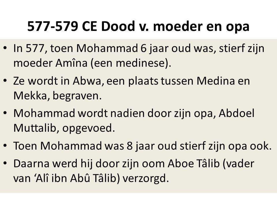 577-579 CE Dood v. moeder en opa • In 577, toen Mohammad 6 jaar oud was, stierf zijn moeder Amîna (een medinese). • Ze wordt in Abwa, een plaats tusse